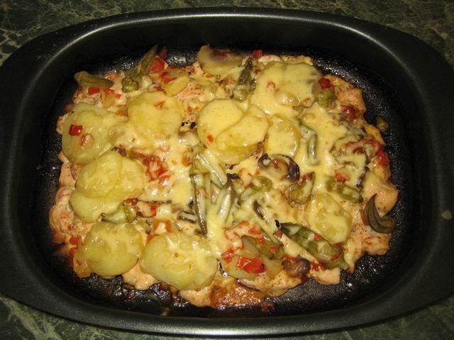 Курица запеченная с замороженными овощами в духовке рецепт